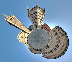 Piazza Duomo planet (Cristian Marchi) Tags: italy panorama church geotagged catholic cathedral little centro 360 mini center chiesa immersive planet parma piazza duomo panini geotag battistero romanic spherical baptistery cattedrale pannini cattolica hugin pianeta equirectangular miniplanet dfoupload minipianeta dfupload baptirstry