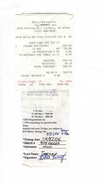 gun receipt