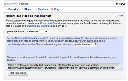 Flagging bullying response video as promoting hatred