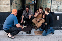 travellers - Bloor street (Nick Kozak - nickkozak.com) Tags: poverty street travel people dog toronto ontario canada poor young sidewalk hunger bloor panhandle