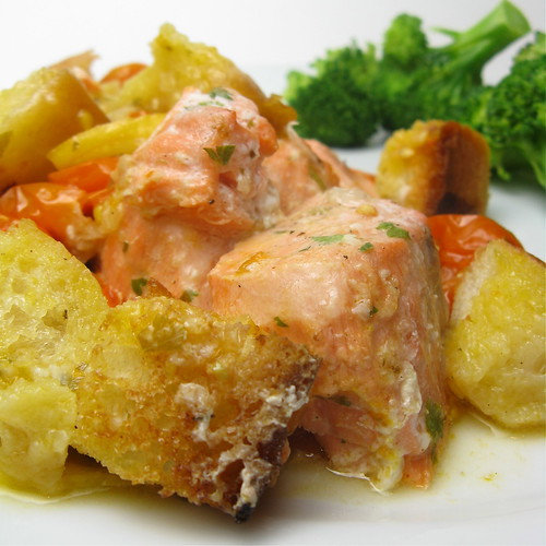 Salmon, Bread & Tomato Bake
