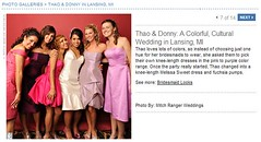 Real Weddings Feature screenshot of bridesmaids with colorful dresses, click to enlarge