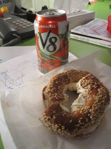 Cream chees ebagel and V8 from Pasta café - $5 with tip