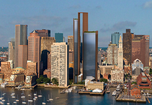 Don Chiofaro has agreed to reduce the height of his Boston Arch project, including losing the skyframe that gave its distinctive look. Now, it will look closer to his International Place project seen at left. (Courtesy the Chiofaro Company)