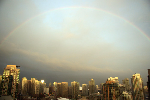 Rainbow over Yaletown on October 14, 2009