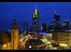 Frankfurt, Germany (Yen Baet) Tags: longexposure skyline germany europe nightshot frankfurt postcard bluehour commerzbank zeilgalerie maintower nikond200 1755mmf28 frankfurtskyline