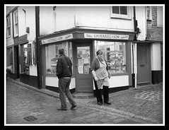 """""""hello""""..."""" goodbye""""!..""""oh i wont bother then, i only wanted a pasty""""! (Broady - Salford art and photography) Tags: street people bw holiday st mono shops cobbles stives ives corwall broady"""