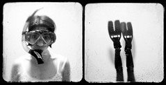 countdown... (ladybugrock) Tags: november portrait blackandwhite self diptych fins snorkle nov4 ttv kodakduaflex