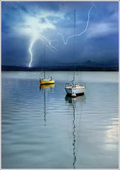 Bang (Jean-Michel Priaux) Tags: blue sea sky lake storm france art water illustration clouds photoshop river landscape deutschland boat nikon eau flood flash dream skipper lac dreaming reflect alsace bateau paysage vague vagues rhein voile hdr orage anotherworld fleuve tempte terrific mattepainting tonnerre rhin clair d90 foudre tonerre eschau priaux plobsheim flickrdiamond digitalflood