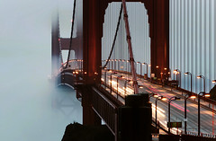 daily commute (louie imaging) Tags: world ocean sf life road morning bridge light red fog wonder dawn golden evening bay photo gate san francisco glow traffic pacific dusk north columns trails icon commute louie underneath iconic 7th spans mankind graphis