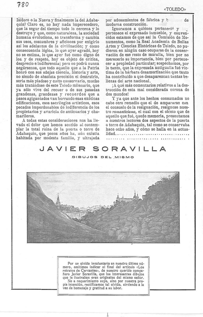 Artículo de Javier Soravilla sobre la Torre del Hierro en 1923. Revista Toledo. Página 3