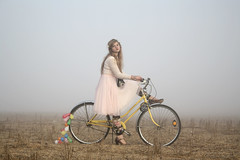 (Anna Hollow) Tags: anna me girl bike yellow balloons polaroid explore frontpage onestep annahatzakis annahollow
