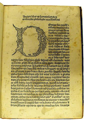 Woodcut initial in Aristoteles [pseudo-]: Secreta secretorum
