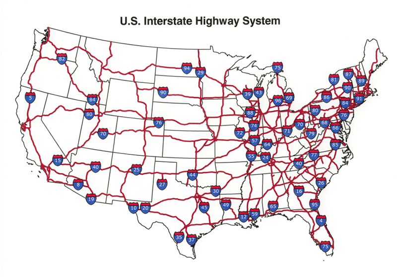 Us Interstate Map World Map - Map of the us including interstates and major cities