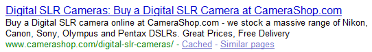 Category page title SERP example plurals and singular