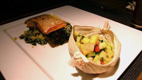 Trucha - Tasmanian sea trout, saffron quinoa, yellow gazpacho sauce
