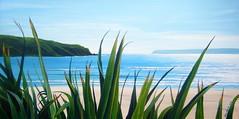 Titahi Bay Beach (tracy macdonald) Tags: sea newzealand art beach painting landscape artist acrylic wellington flax titahibay manaisland tracymacdonald
