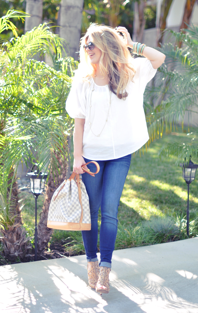 denim and white with  nude accessories