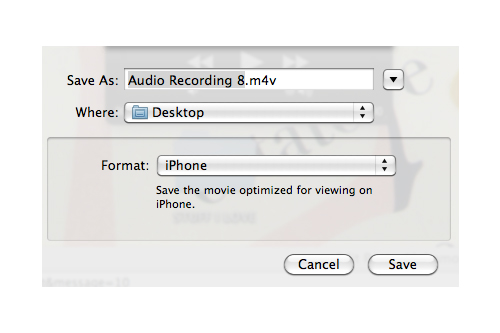 saving audio in QuickTime (screenshot)