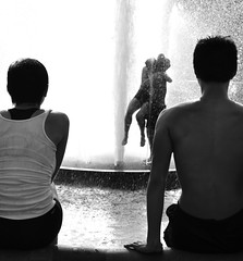 Fun in the Fountain (The Frotographer) Tags: nyc summer blackandwhite bw newyork love water fountain laughing nikon dancers dancing washingtonsquarepark happiness passion lust dslr friendliness blackwhitephotos d3100