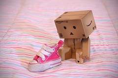 This is for my foot ? (Victoria. A) Tags: cute canon toy foot shoe eos stripes victoria converse confused danny armstrong danbo 50mmf18ii revoltech miniconverse danboard minishoe canoneos1000d victoriaarmstrong