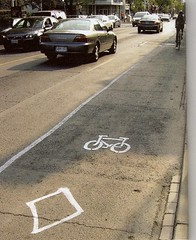citizen-painted bike lane in Toronto (by: Martin Geis for Good Magazine via Design Public)