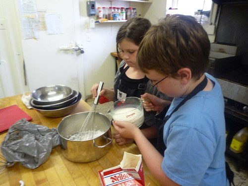 Liam and Sierra make custard together