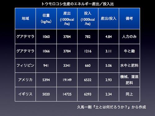 トウモロコシ生産のエネルギー産出/投入比