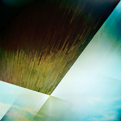 prcssd. boston, ma. 2009. (eyetwist) Tags: wood blue roof sky urban brown abstract postprocessed detail texture geometric boston clouds photoshop square ma geometry massachusetts details ceiling atlantic artmuseum processed vignette 2009 seaport ica overhang supersaturated postprocessing lensblur secretrecipe icaboston instituteofcontemporaryart digixpro eyetwist signaltonoise prcssd dillerscofidiorenfro eyetwistkevinballuff