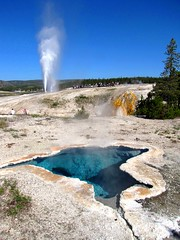 Blues and Blasts, Upper Geyser Basin , Yellowstone National Park (moonjazz) Tags: blue hot water pool underground landscape energy earth tourist yellowstonenationalpark geography wyoming geology thermal blasts steamy eruption plume geysers uppergeyserbasin beehivegeyser mywinners