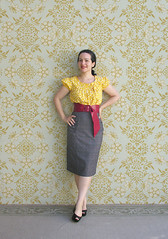 Yellow Polka Dot Top :) (Elsita (Elsa Mora)) Tags: red portrait inspiration selfportrait color art girl smile leather fashion yellow pencil photoshop self hair children happy belt outfit nice shoes artist child personal top sandals background inspired remix seed style skirt polka dot blouse hidden blogged wardrobe elsa mora selfexpression elsita