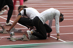 100 meters hurdles before start (Eddie 2.0) Tags: paris sprint hurdles 100meters lolojones athlestism cindybillaud