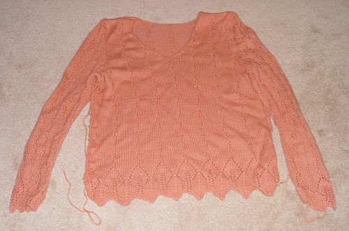 mom's sweater, during seaming
