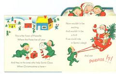 Pixieville (contrarymary) Tags: santa christmas holiday vintage pixie santaclaus christmascard toyland vintagechristmascard