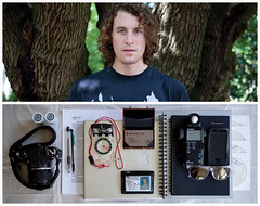 Jack Diptych (J Trav) Tags: camera portrait film sunglasses writing notebook cards persona diptych wallet cds whatsinyourbag pens briefcase lightmeter compass iphone interestingportrait everydayitems macbook theitemswecarry