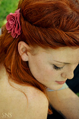 Katy ({SNS Photography}) Tags: portrait woman flower girl beautiful female canon bride back engagement eyelashes gorgeous redhead redhair shoulder 50d orlandophotography eshoot snsphotography