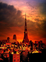 One fine day (avenue207) Tags: city light sunset shadow red sky orange sun colors silhouette clouds buildings landscape structure