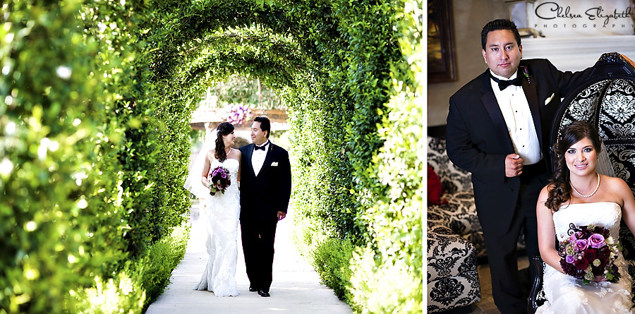 Westlake Village Inn Tuscan Gardens and hotel lobby baroque chairs bride and groom portrait