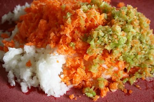 onions, carrots, celery