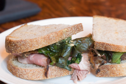 Flank Steak Sandwich with Marnated Mushrooms