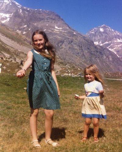 Léan and Órla in the Alps, 1984