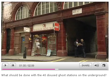 Screengrab from BBC Ghost Tube Stations Feature - click to watch film