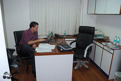 Miguel in our Avert office working