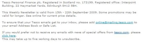 Tesco unsubscribe link