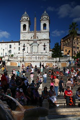 Spanish steps (IMG_0405) (One Finger Snap) Tags: travel people italy rome roma heritage church water fountain geotagged european sitting afternoon shadows euro snapshot sunny tourists jpg jpeg crowds cultural spanishsteps thirdworldcountry onefingersnap