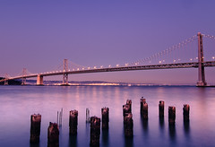 The Bay Bridge (kaoni701) Tags: ocean sf sanfrancisco california street blue sunset night buildings oakland pier highway downtown dusk 14 tokina promenade northbeach baybridge embarcadero bayarea ferrybuilding bluehour peninsula southbeach 1116 d300s tokina1116mmf28