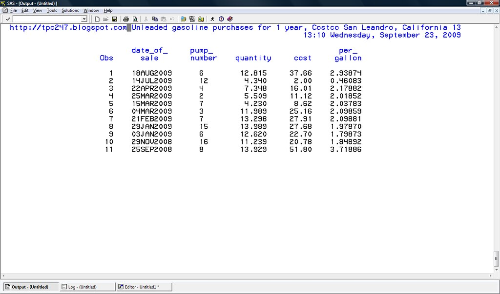 SAS fill gas tank dataset