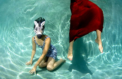 the handler (kozyndan) Tags: light red summer woman water pool girl animal underwater dress mask skirt emilia figure zebra americanapparel masked hollywoodhills kozy