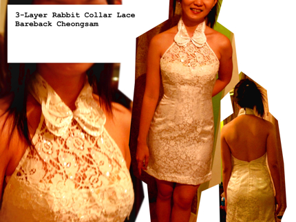 3 rabbit collar cheongsam