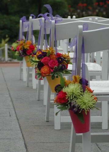 lyndsy's buckets, Brightly painted tin buckets with green spider mums, orange and hot pink roses, purple stock and matsumoto asters